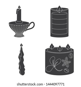Isolated object of candlelight and decoration sign. Set of candlelight and wax stock vector illustration.