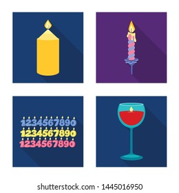 Isolated object of candlelight and decoration sign. Set of candlelight and flame vector icon for stock.