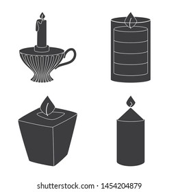 Isolated object of candlelight and decoration sign. Set of candlelight and wax stock symbol for web.