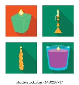 Isolated object of candlelight and decoration symbol. Collection of candlelight and flame stock symbol for web.