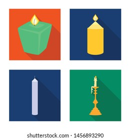 Isolated object of candlelight and decoration symbol. Collection of candlelight and flame vector icon for stock.