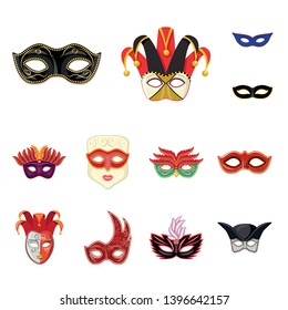 Isolated object  carnival and theatrical logo. Set  carnival and mystery vector icon for stock.