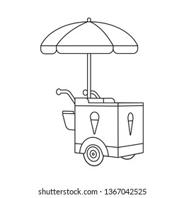 Isolated object of cart and parasol sign. Set of cart and sunshade stock symbol for web.