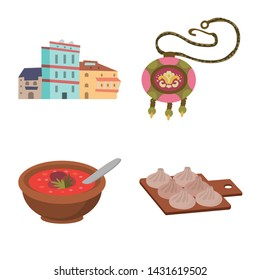 Isolated object of Caucasus and traditions icon. Collection of Caucasus and attributes stock vector illustration.