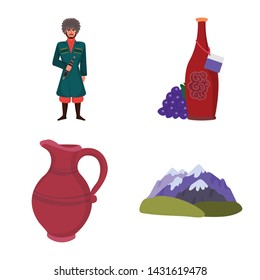 Isolated object of Caucasus and traditions logo. Collection of Caucasus and attributes vector icon for stock.