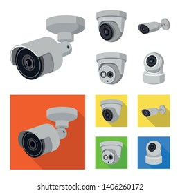 Isolated object of cctv and camera logo. Set of cctv and system stock symbol for web.