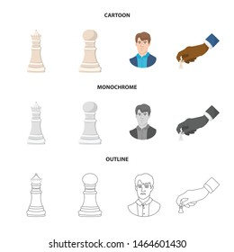Isolated object of checkmate and thin icon. Collection of checkmate and target vector icon for stock.