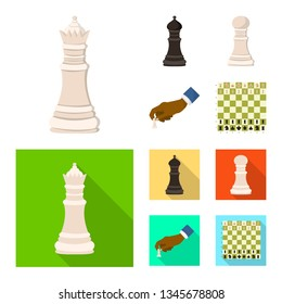 Isolated object of checkmate and thin sign. Set of checkmate and target vector icon for stock.