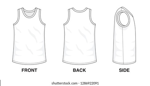 Isolated object of clothes and fashion stylish wear fill in blank shirt top. Regular Tee Crew Neck Strap Original Tee Sleeveless Top Illustration Vector Template. Front, back and side view