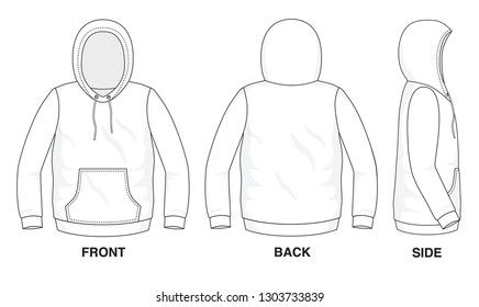 Isolated object of clothes and fashion stylish wear fill in blank shirt sweater. Regular Tee Crew Hood Hoodie Tee Long Sleeves with Pocket Illustration Vector Template. Front, back and side view