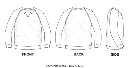 Isolated object of clothes and fashion stylish wear fill in blank shirt sweater. Regular Tee Crew Neck Ragland Tee Long Sleeves Illustration Vector Template. Front, back and side view