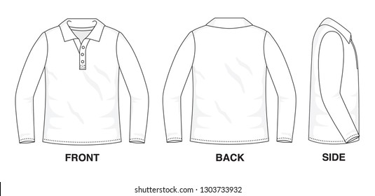 Isolated object of clothes and fashion stylish wear fill in blank shirt sweater. Regular Tee Crew Polo Tee Long Sleeves Illustration Vector Template. Front, back and side view