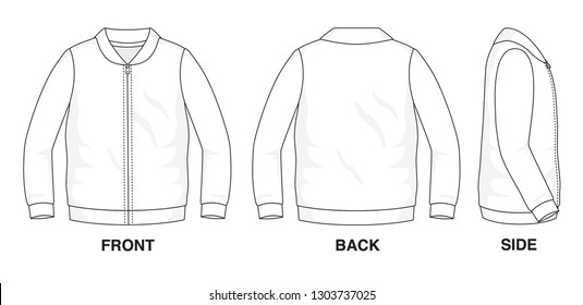 Isolated object of clothes and fashion stylish wear fill in blank shirt sweater. Regular Tee Crew Neck Collar Long Sleeves Vest Zipper Illustration Vector Template. Front, back and side view