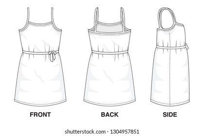 Isolated object of clothes and fashion stylish wear fill in blank top dress. Regular Neck Strap Original Sleeveless Strap Top Illustration Vector Template Dresses. Front, back and side view.