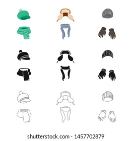 Isolated object of clothes and texture logo. Set of clothes and weather stock symbol for web.