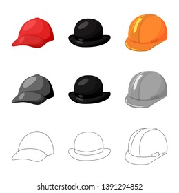 Isolated object of clothing and cap logo. Collection of clothing and beret vector icon for stock.
