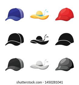 Isolated object of clothing and cap sign. Collection of clothing and beret stock symbol for web.