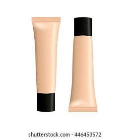 Isolated object. Cosmetics. Tube. Foundation. Realistic object.