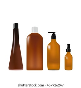 Isolated object. Cosmetics. The vials. Bottles. Realistic object.