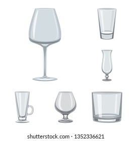 Isolated object of dishes and container logo. Set of dishes and glassware stock symbol for web.