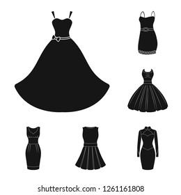 Isolated object of dress and clothes icon. Collection of dress and evening vector icon for stock.