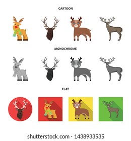 Isolated object of elk and head symbol. Set of elk and stag stock vector illustration.