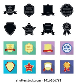 Isolated object of emblem and badge icon. Collection of emblem and sticker stock vector illustration.
