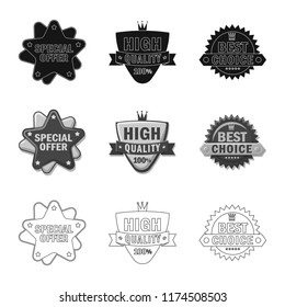 Isolated object of emblem and badge sign. Collection of emblem and sticker stock vector illustration.
