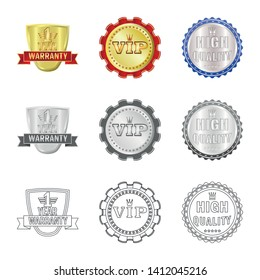 Isolated object of emblem and badge sign. Set of emblem and sticker stock vector illustration.