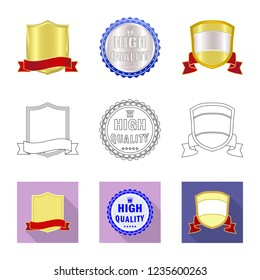 Isolated object of emblem and badge symbol. Collection of emblem and sticker stock vector illustration.
