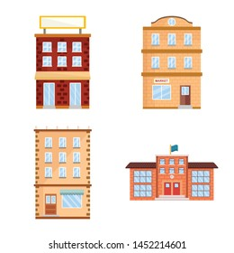 Isolated object of facade and building logo. Collection of facade and exterior stock symbol for web.
