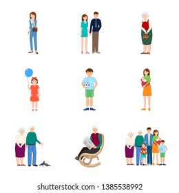 Isolated object of family  and people sign. Collection of family  and avatar  stock symbol for web.
