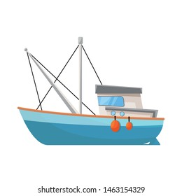 Isolated object of fishery and trawler logo. Collection of fishery and tug vector icon for stock.