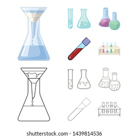 Isolated object of flask and laboratory logo. Set of flask and equipment stock vector illustration.