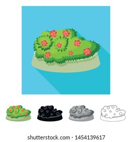 Isolated object of flowerbed and garden sign. Collection of flowerbed and bush vector icon for stock.
