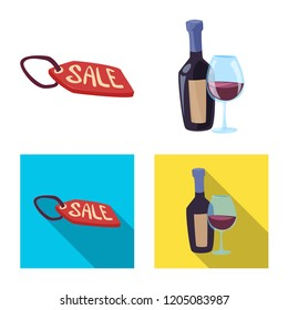 Isolated object of food and drink sign. Set of food and store stock vector illustration.