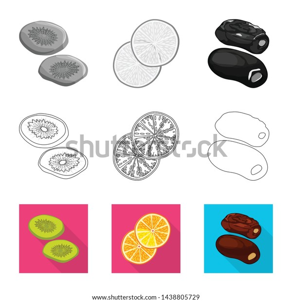 Isolated object of food and raw symbol. Collection of food and nature stock symbol for web.