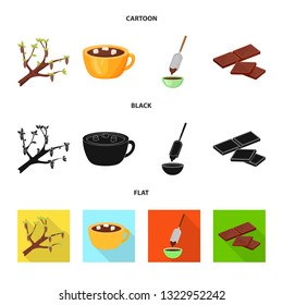 Isolated object of food and yummy sign. Collection of food and brown   stock vector illustration.
