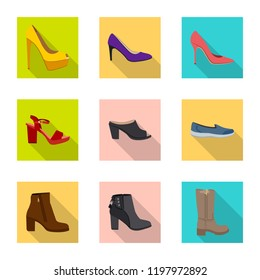 Isolated object of footwear and woman logo. Collection of footwear and foot vector icon for stock.