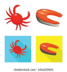 Isolated object of fresh  and restaurant sign. Set of fresh  and marine   vector icon for stock.