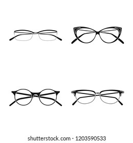Isolated object of glasses and frame symbol. Set of glasses and accessory stock symbol for web.