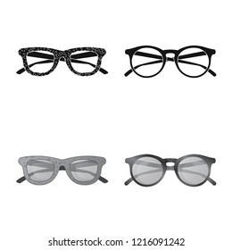 Isolated object of glasses and sunglasses icon. Collection of glasses and accessory vector icon for stock.