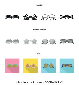 Isolated object of glasses and sunglasses logo. Collection of glasses and accessory vector icon for stock.