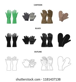 Isolated object of glove and winter sign. Set of glove and equipment vector icon for stock.