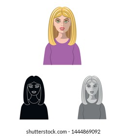 Isolated object of hairstyle and profession icon. Set of hairstyle and character stock symbol for web.