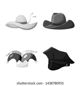 Isolated object of hat and helmet symbol. Set of hat and profession stock vector illustration.