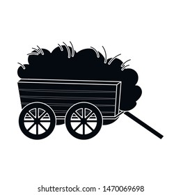 Isolated object of hay and cart logo. Collection of hay and transport stock symbol for web.