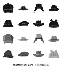 Isolated object of headgear and cap icon. Collection of headgear and accessory vector icon for stock.