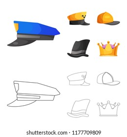 Isolated object of headgear and cap sign. Set of headgear and accessory vector icon for stock.