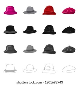Isolated object of headgear and cap symbol. Set of headgear and accessory stock vector illustration.